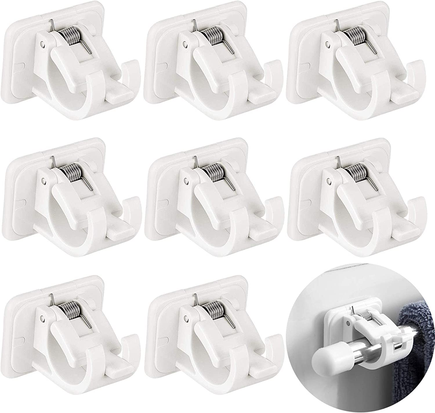 Curtain Rod Holder,8 Pcs Curtains Bracket Crossbar Hook Self Adhesive Rods Hanger, No Drill Brackets Fixing Holders, Wall Hooks Drapery Pole & Fixings for Bathroom Kitchen Home Bathroom and Hotel Use