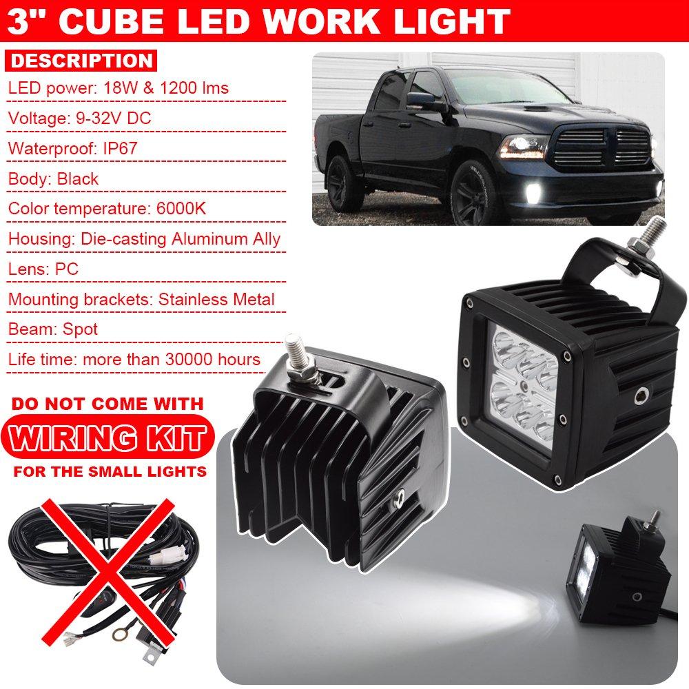 Front Hidden Bumper Fog Light Mounting Bracket Kit W 3 Wiring Work Lights On Truck 18w Led Cube Fit 2013 2018 Dodge Ram 1500 Automotive