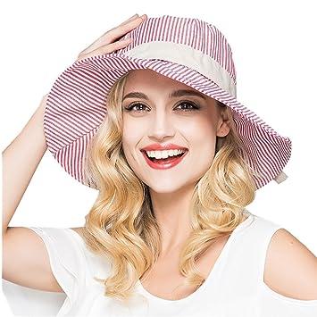 e173607cc94 Petite Fortune Ladies Classic Wide Brim Stripes Sun Hat Beach Cap Foldable  Packable Cotton Bowknot Sun