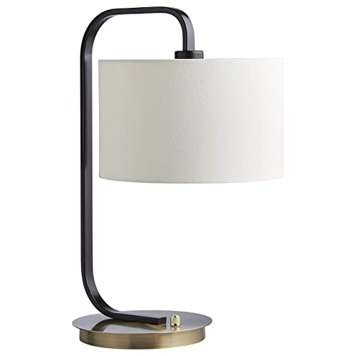 Stone Beam Modern Arc Table Desk Lamp with Light Bulb and Linen Shade – 9 x 9 x 20.5 Inches, Black and Brushed Brass