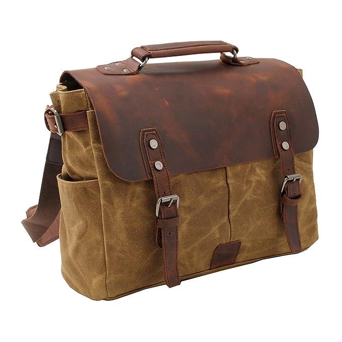 VRIKOO Waterproof Canvas Leather Laptop Bag Briefcases Vintage Men's Messenger Shoulder Bags Satchels 3P1lVn