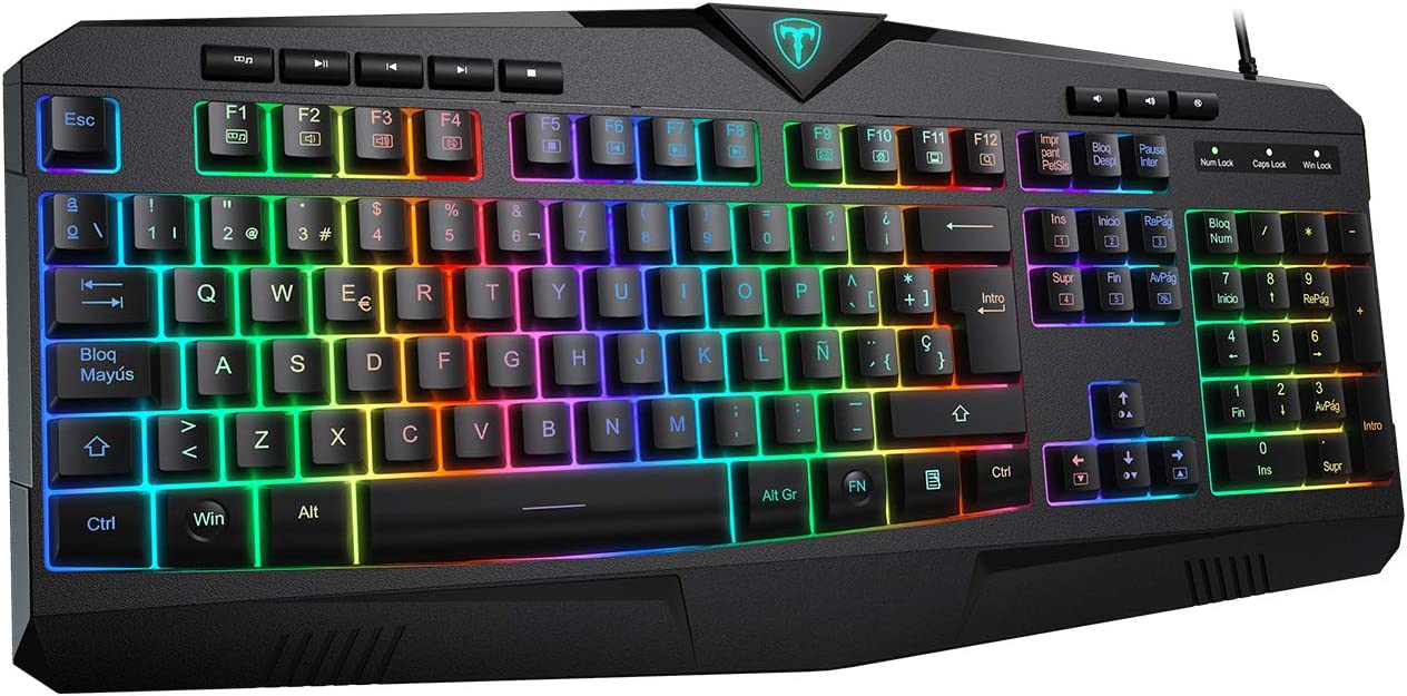 VicTsing Teclado Gaming RGB Alambrico Teclado USB, Teclado Español con 8 Teclas Multimedia Independientes, 25 Teclas Anti-ghosting, Salpicaduras para Juegos de PC / Mac, Negro