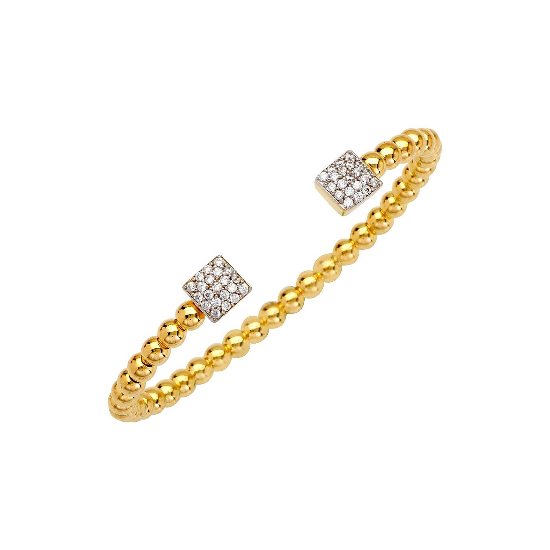 Fancy Bd Cuff Br //2 Sqr Cz End Stations DiamondJewelryNY Bangle Bracelet