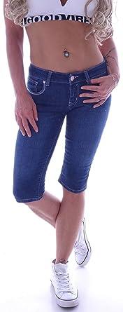 Jeans Damen Caprijeans Capri Jeans Hose Hüftjeans Dunkelblau Bermudas Shorts D111