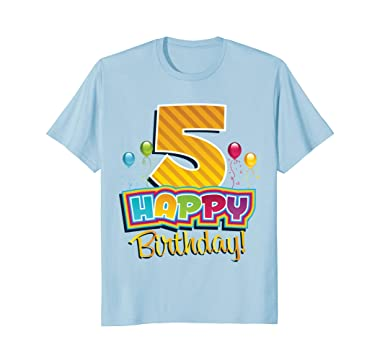 Mens Happy 5th Birthday T Shirt Kids Bday Party Fun Balloons Tee 2XL Baby