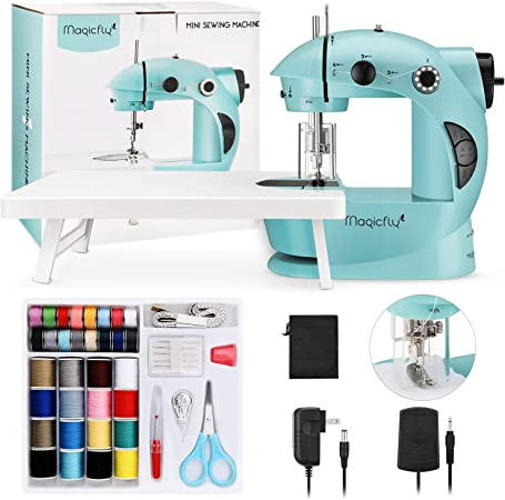 Dual Speed Portable Sewing Machine with Sewing Accessories Kit Magicfly Mini Sewing Machine for Beginners with Extension Table Light for Kids Adults DIY Household