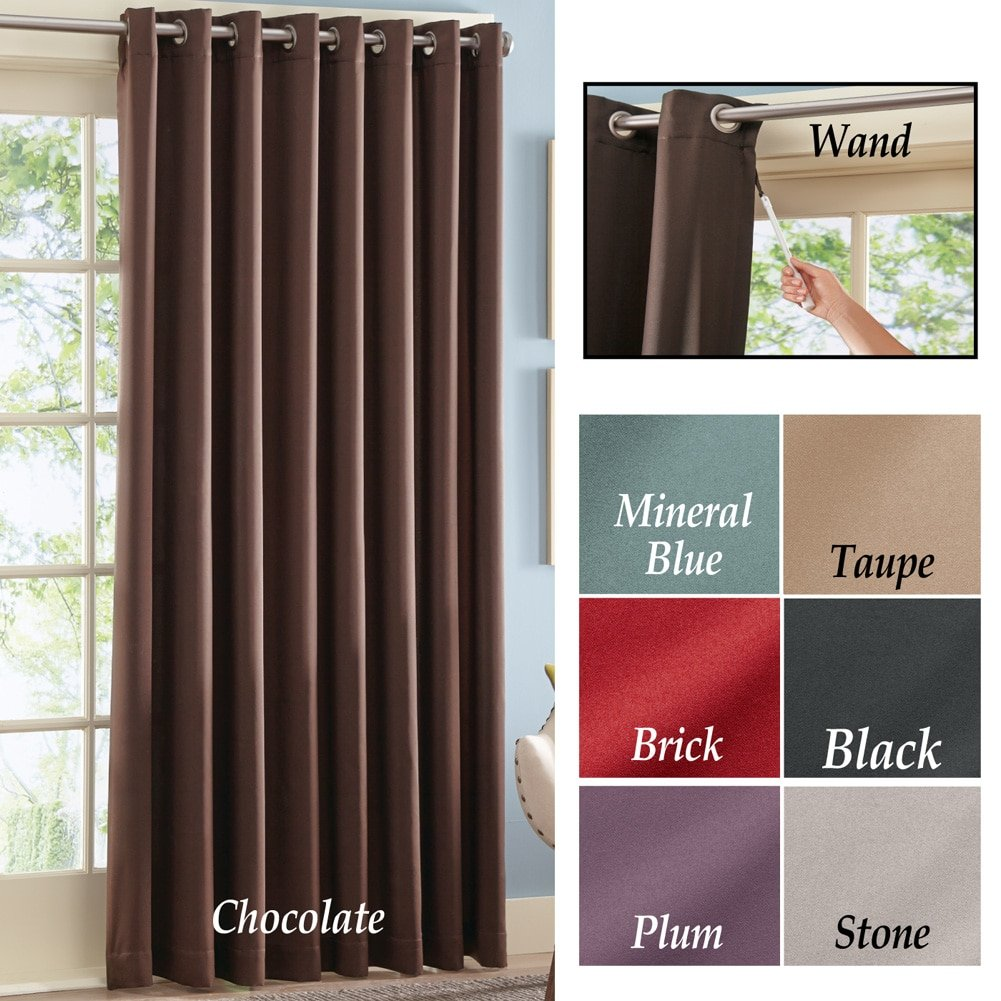 Patio door curtains grommet top - Amazon Com Gramercy Patio Door 100 Inch Grommet Top Window Curtain Panel With Wand Taupe Home Kitchen