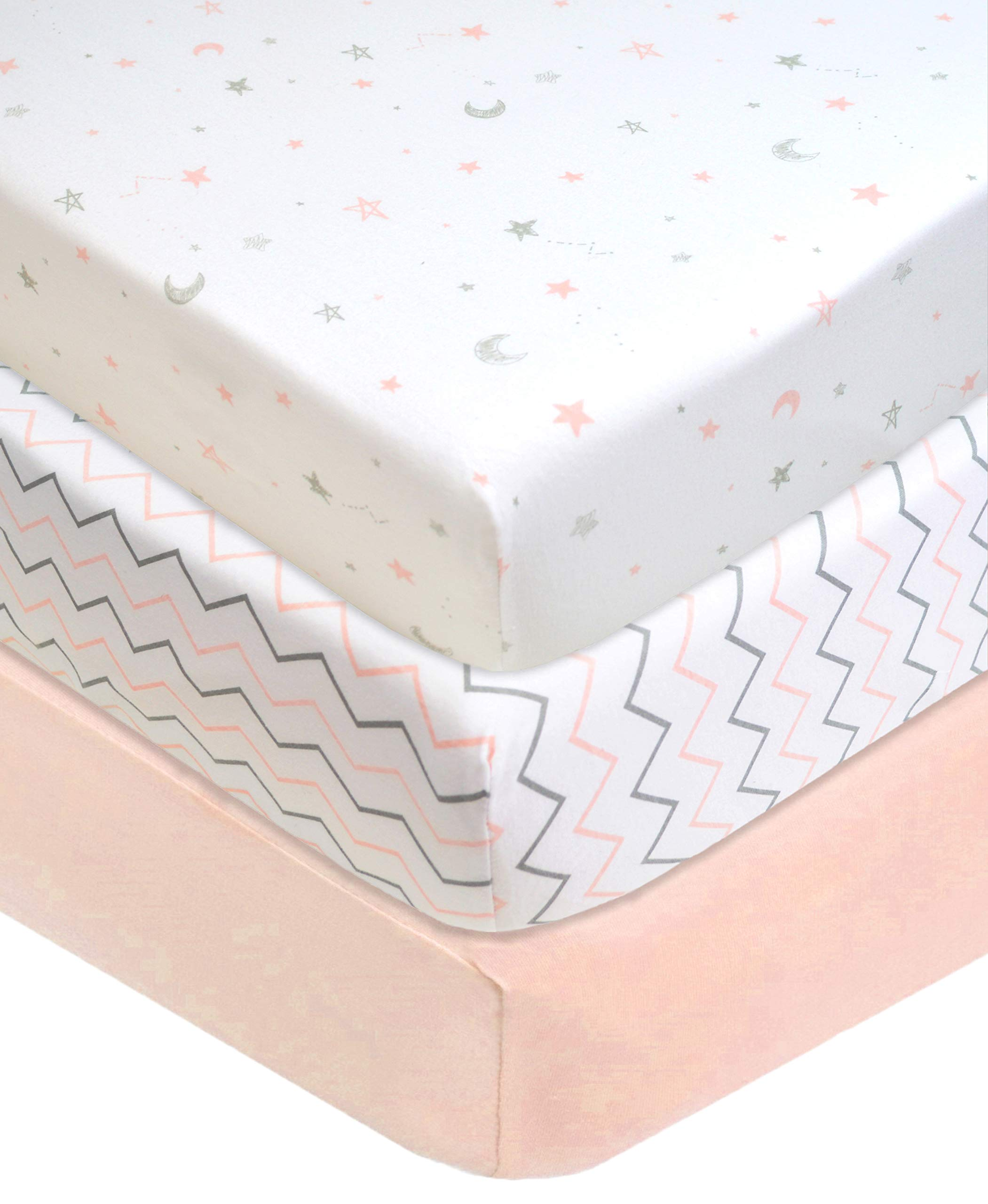 American Baby Company 3 Piece 100% Cotton Jersey Knit Fitted Crib Sheet for Standard Crib and Toddler Mattresses, Blush Pink Star/Zigzag, for Girls by American Baby Company