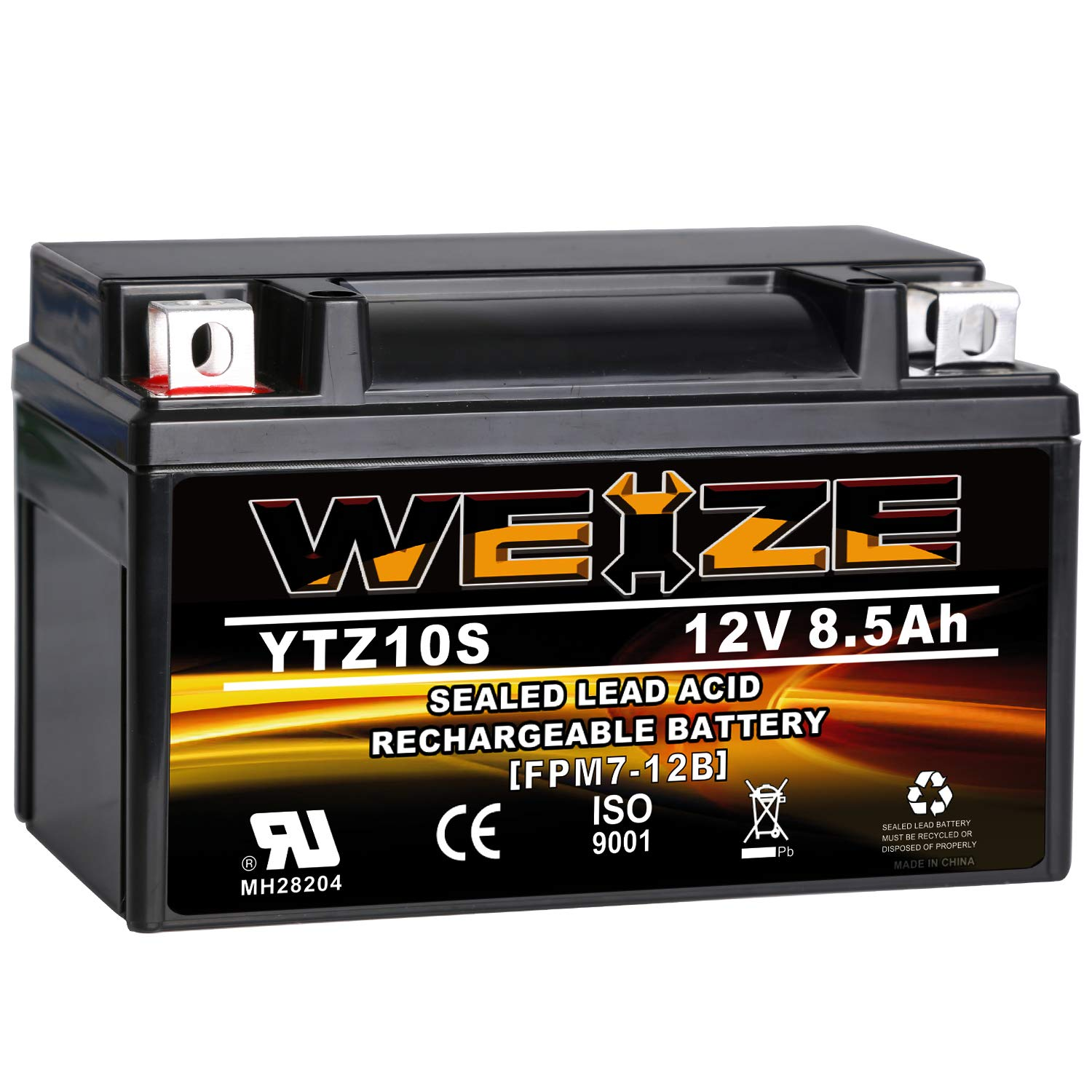 Weize YTZ10S-BS High Performance - Maintenance Free - Sealed AGM Motorcycle Battery For Yamaha Honda by WEIZE