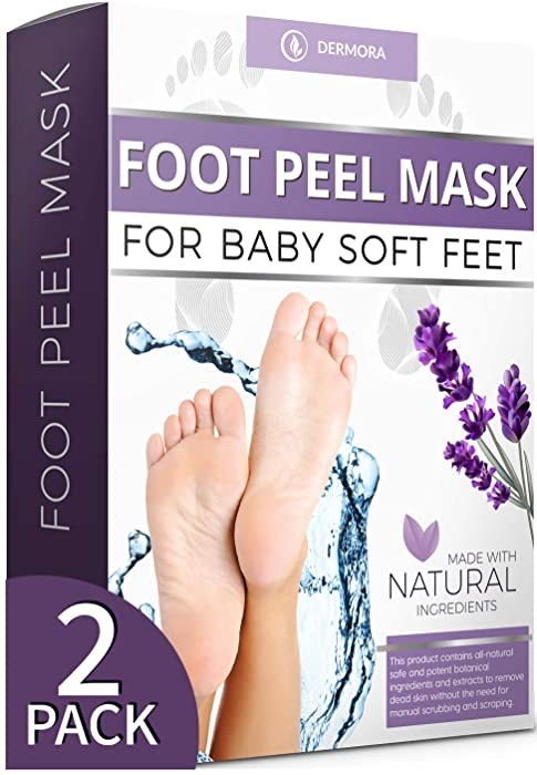 Foot Peel Mask - 2 Pack - For Cracked Heels, Dead Skin and Calluses - Make Your Feet Baby Soft Smooth Silky Skin - Removes Rough Heels, Dry Toe Skin Natural Treatment