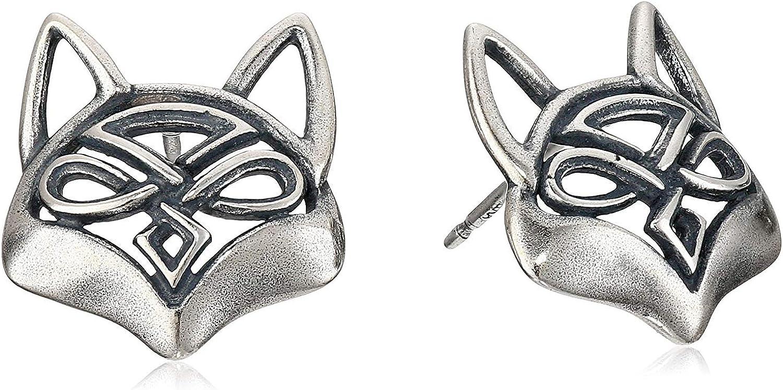 925 Sterling Silver Oxidized Celtic Knot Fox Stud Earrings