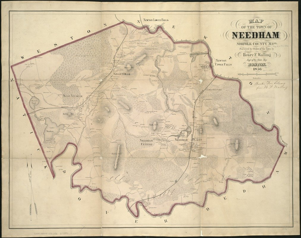 Historic Map | 1856 Map of the town of Needham, Norfolk County, Mass : surveyed by order of the town | Antique Vintage Reproduction