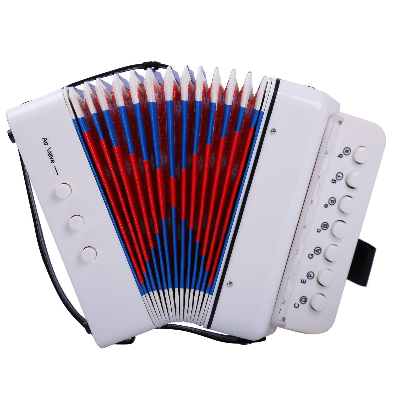 CAHAYA Accordion 7 Keys 2 Bass Button Educational Musical Instrument Rhythm Band for Children (White) CY0089-2