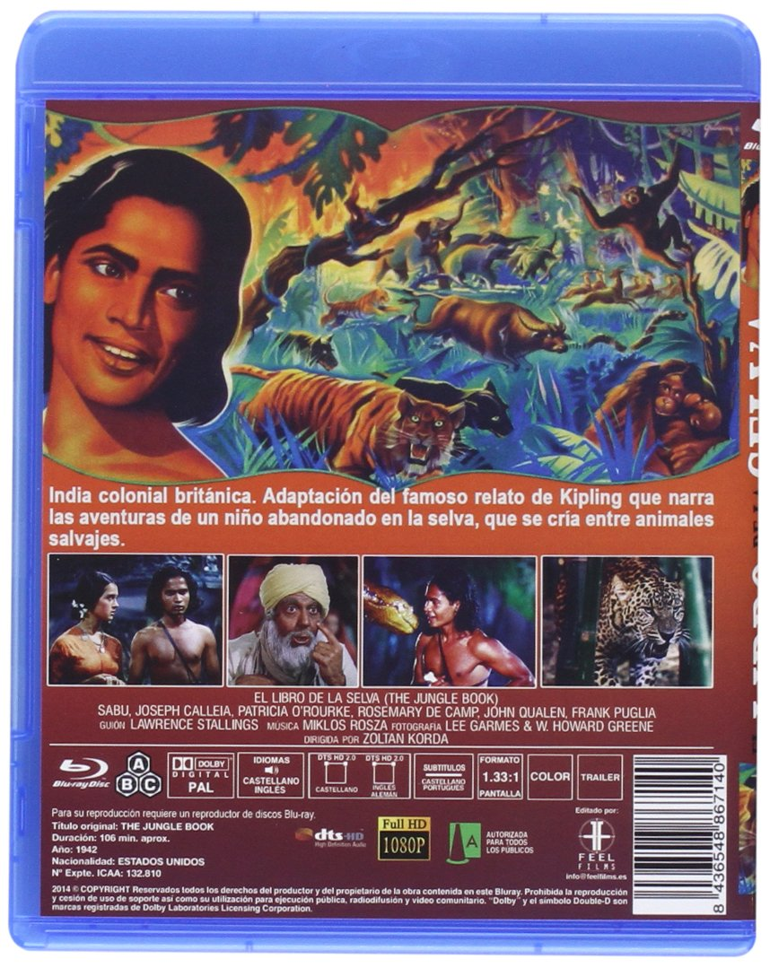 Amazon.com: Jungle Book [ Blu-Ray, Reg.A/B/C Import - Spain ]: Faith Brook, Sabu, Joseph Calleia, John Qualen, Frank Puglia, Rosemary DeCamp, ...