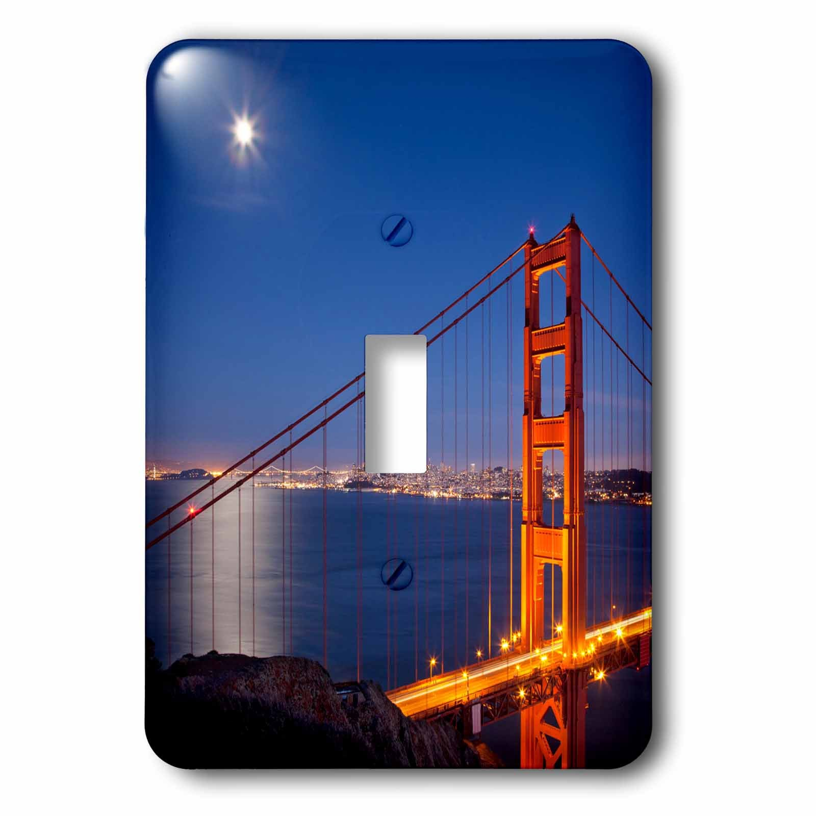 3dRose lsp_189514_1 Sunset Over San Francisco and The Golden Gate Bridge, California, Usa Light Switch Cover by 3dRose