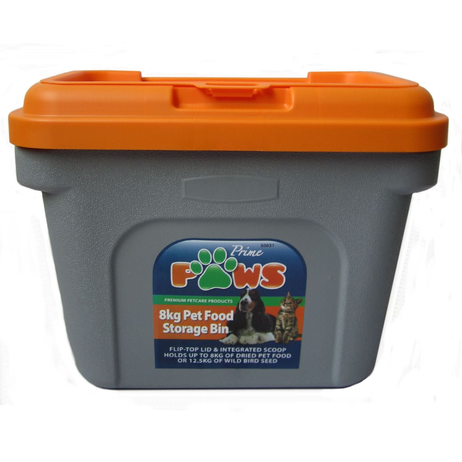 Prime Paws Pet Food Storage Container GreyOrange Holds 125kg