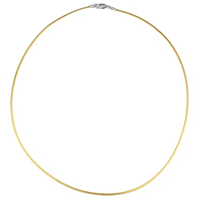 4b1c109bb653e7 Amazon.com: 14k Two-Tone Gold Reversible Omega Necklace (1.5mm, 16 inch):  Jewelry