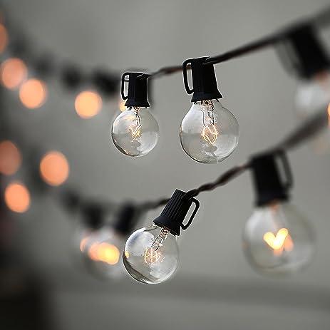 Lampat String Lights, Vintage Backyard Patio Lights With 25 Clear Globe  Bulbs UL Listed