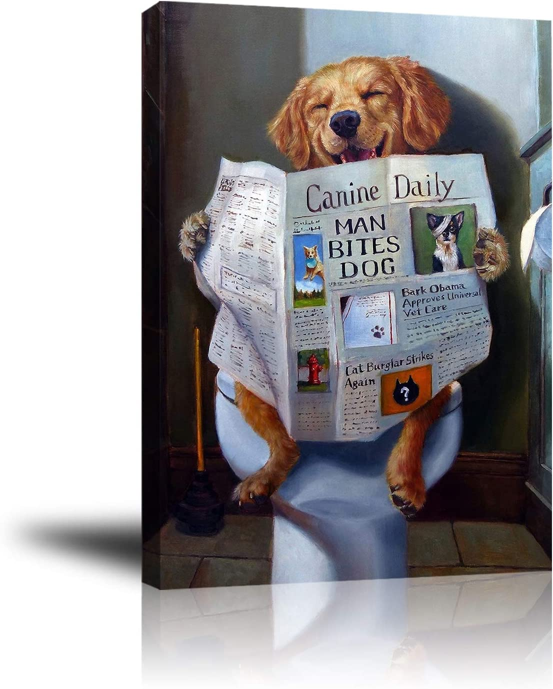 Animal Funny Poster Canvas Wall Art Decor, Cute Dog Reading Newspaper on Toilet, Moder Unframed Babyroom Wall Decor Office Bathroom Livingroom Bedroom Pictures