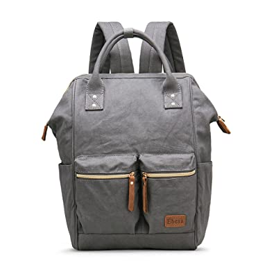 Multifunction Canvas Backpack Travel Bags for Man Woman Casual Laptop  Rucksack (Dual Pockets x Grey 748b10d778d29