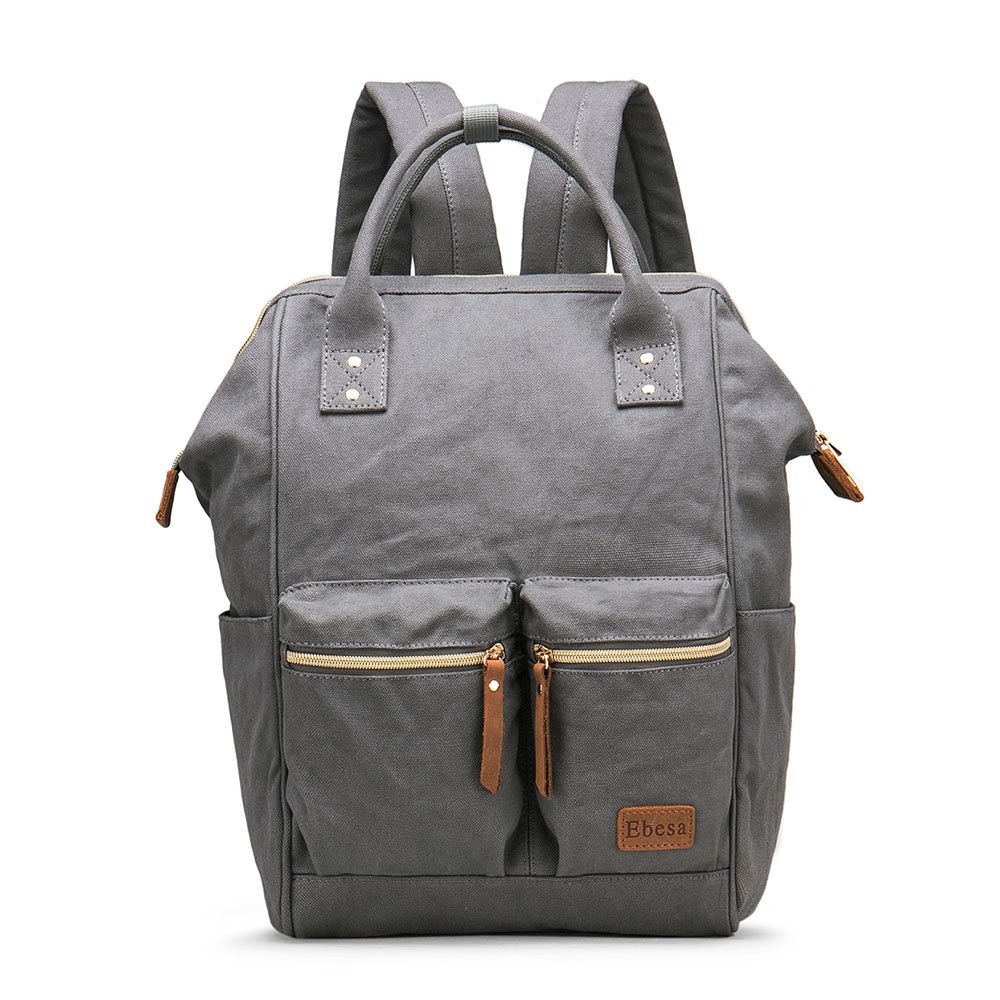 Multifunction Canvas Backpack Travel Bags for Man Woman Casual Laptop Rucksack (Dual Pockets x Grey EB)