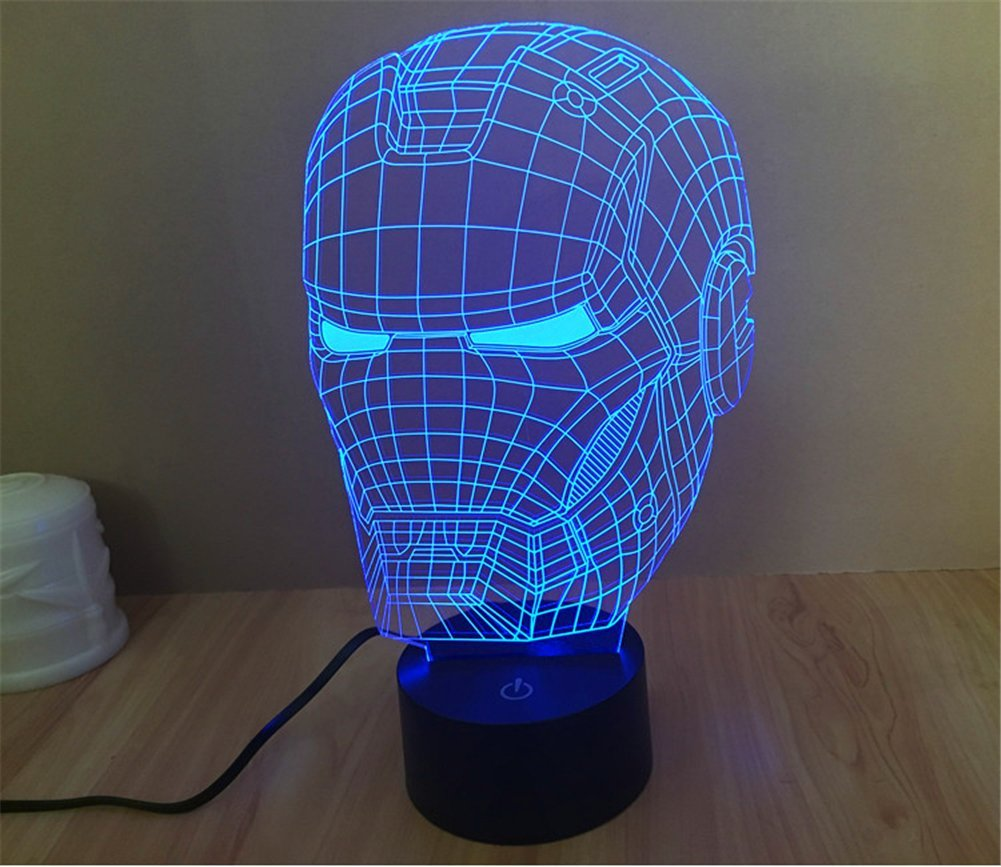 SmartEra® 3D optische Täuschung Iron Man Helm Panel Modell Beleuchtung Nacht 7 Farbwechsel USB Touch Taste LED Schreibtisch Tabellen Licht Lampe Tischleuchte