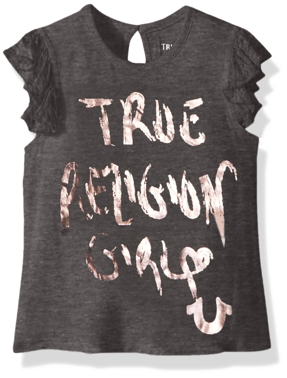 7156c51b2 Galleon - True Religion Little Girls' Fashion Short Sleeve Tee Shirt,  Charcoal Heather, 4