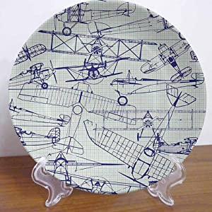 """6"""" Airplane Ceramic Dinner Plate Old Airplane Drawings Classic Dated Flight Vintage Style Nostalgic Jets Decor Accessory for Dining Table Tabletop Home Decor"""