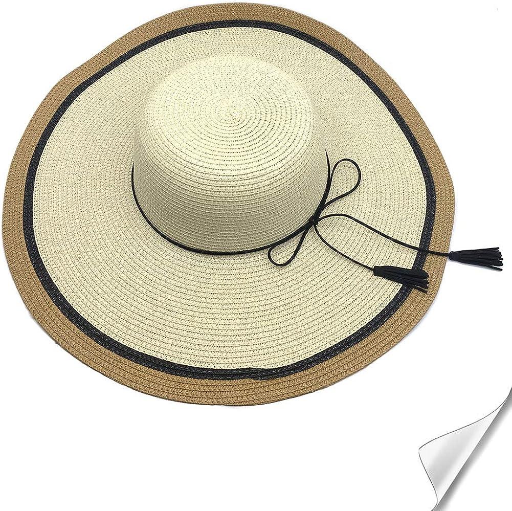 SIYWINA Sombrero de Paja para Mujer UPF 50+ Plegable Sombrero de Sol para Viaje Vacaciones