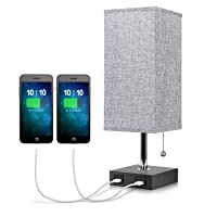 USB Bedside Table Lamp, with Dual USB Fast Charging Port Modern Table & Desk Lamp Solid Wood Unique Lampshade, for Bedroom/Living Room/Office