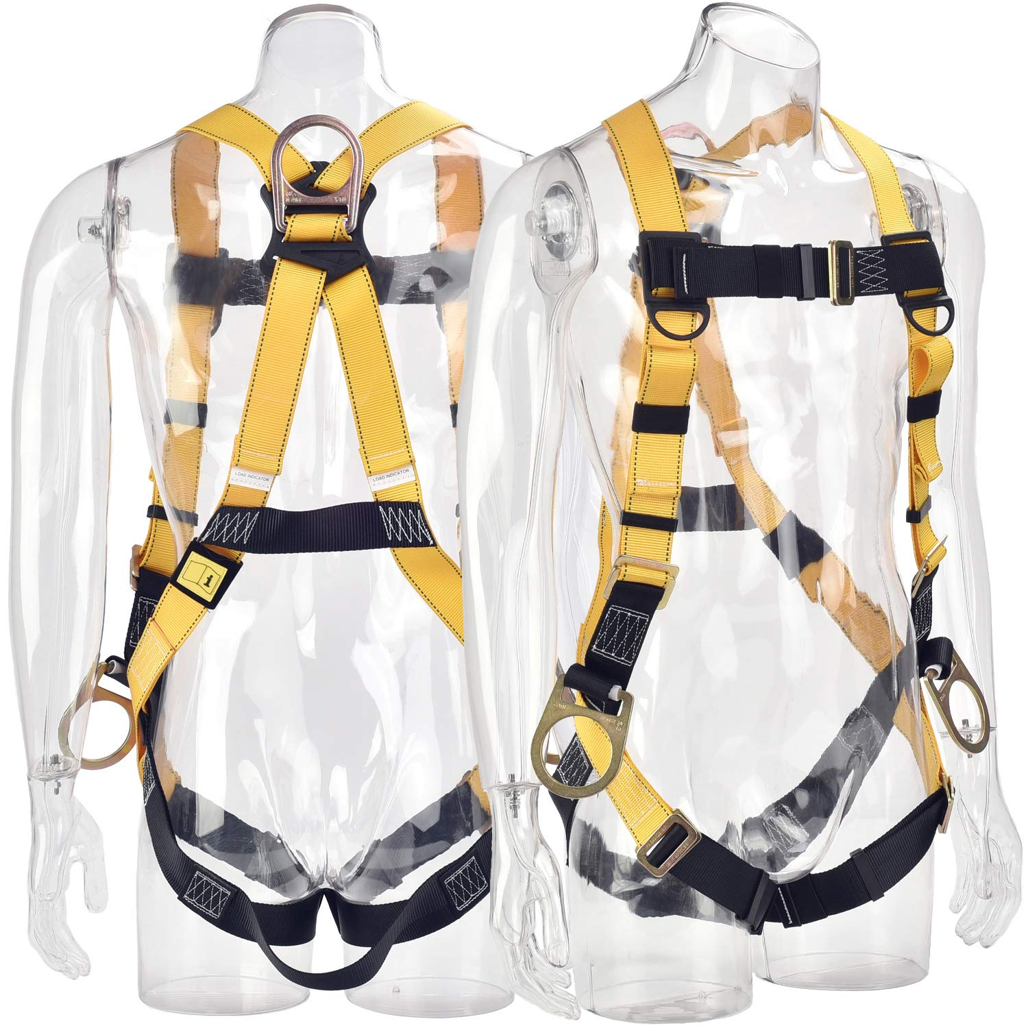 WELKFORDER 3D-Ring Industrial Fall Protection Safety Harness ANSI/ASSE Z359.11-2014 Certified Full Body Personal Protection Equipment 5-Point Adjustment Universal 310 lbs by WELKFORDER