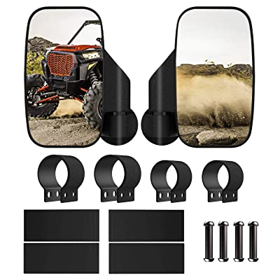 MoKo UTV Rearview Mirrors, 2 Pack All-Terrain Vehicle Rear View Mirror Kit Adjustable Shatterproof Side Convex Mirror Bracket Universal for UTV Cars - Black: Automotive