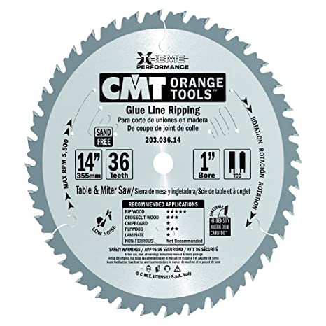 CMT 203.036.14 Industrial Glue Line Ripping Saw Blade, 14-Inch x 36 Teeth 1FTG+FTG Grind with 1-Inch. Bore