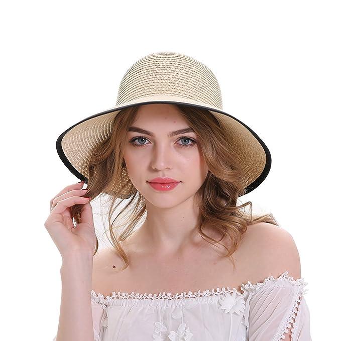 6ed09c56dffb41 MEEFUR Women's Straw Sun Hat Outdoor Beach Cap Bowknot Bucket Anti-UV  Packable Hats Khaki