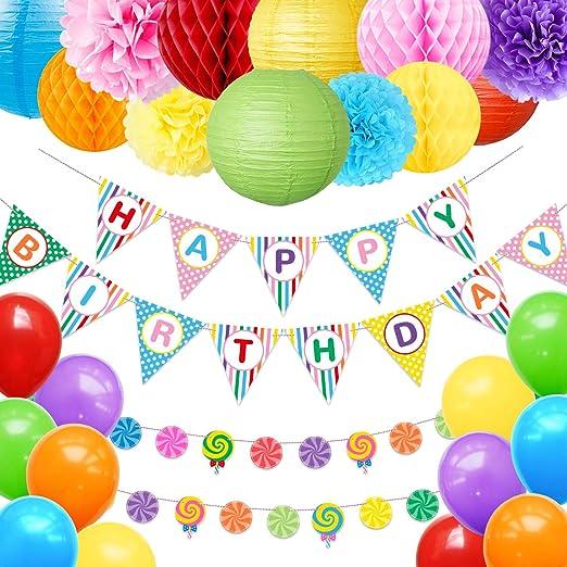 Decoración de fiesta de cumpleaños con diseño de arcoíris de ...
