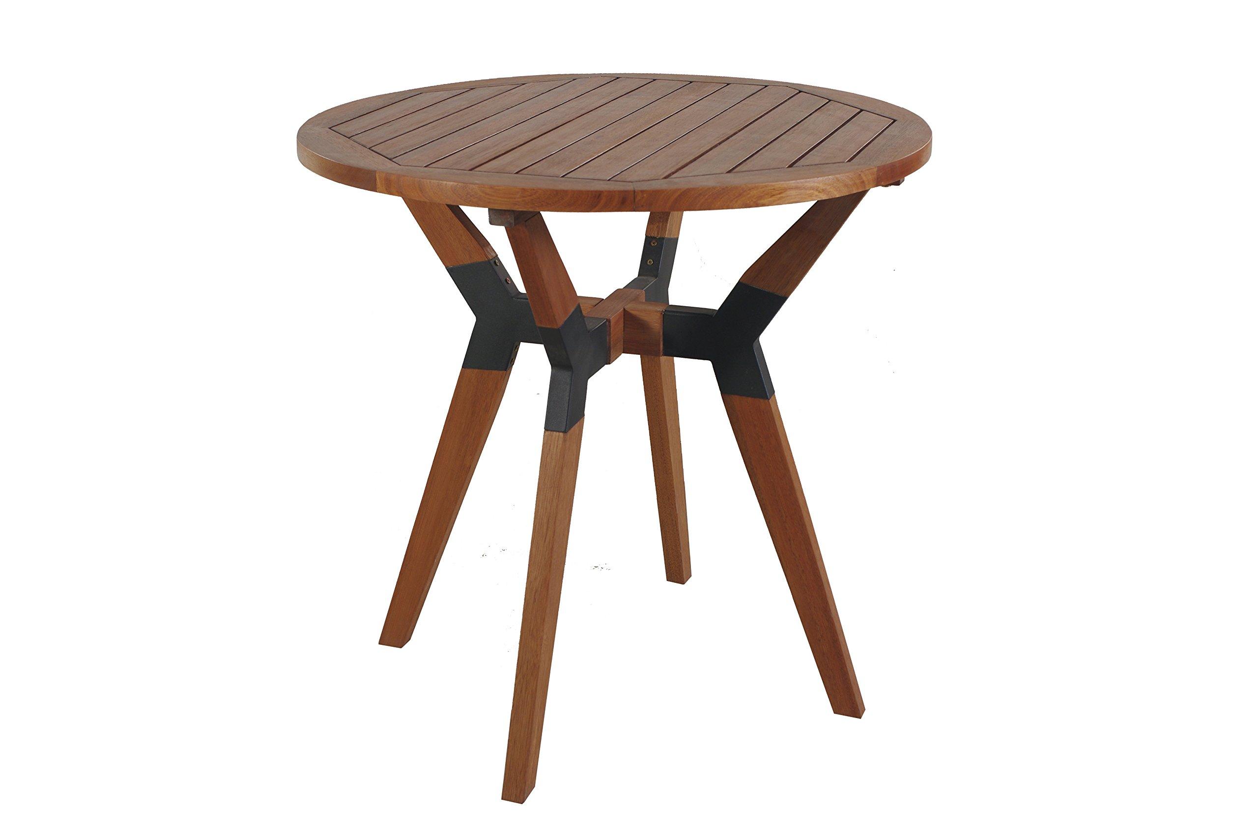 Outdoor Interiors 30'' Eucalyptus & Metal Bistro Table