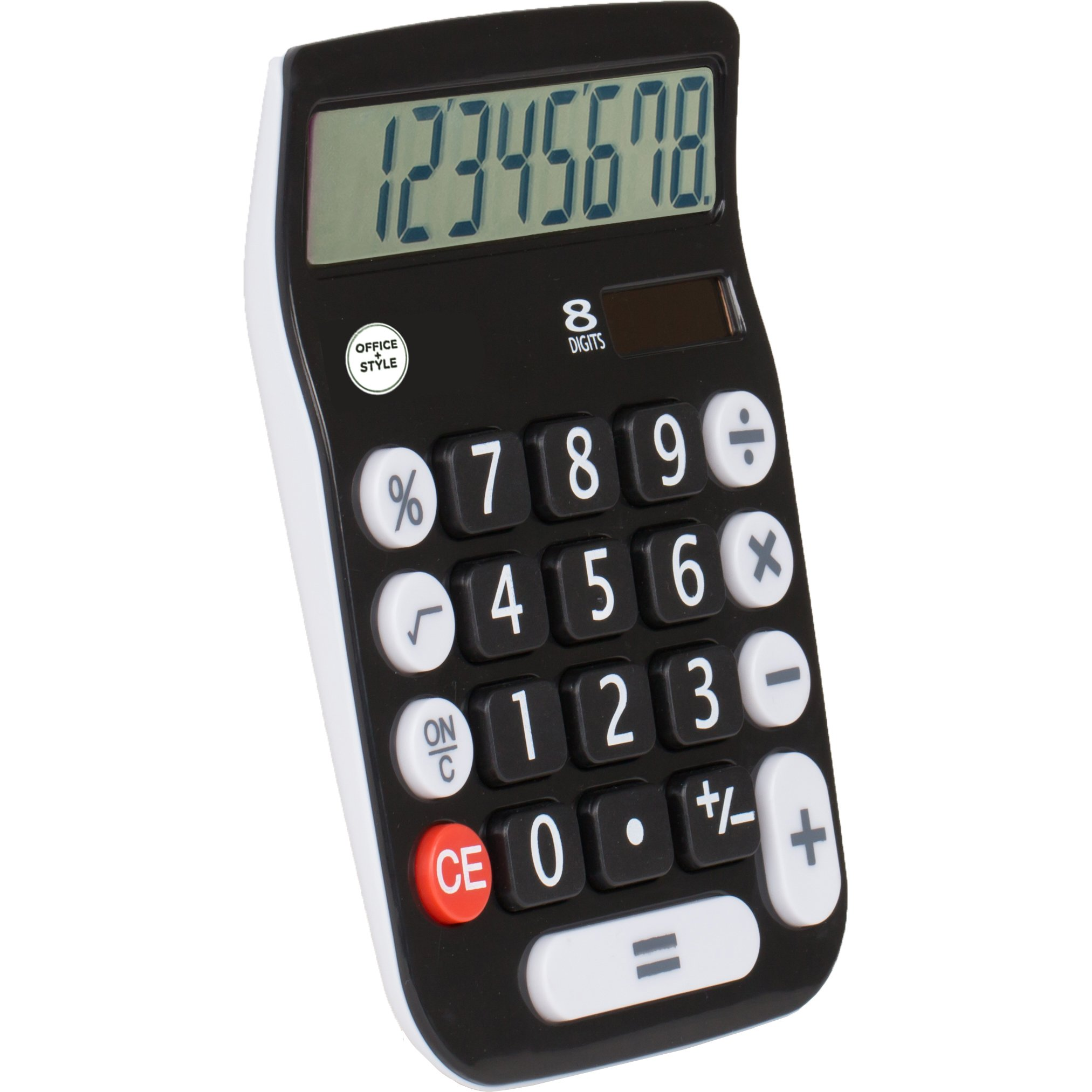 Office Style 8 Digit Dual Powered Desktop Calculator, Large LCD Display, Black (Pack Of 6) by Office Style (Image #2)