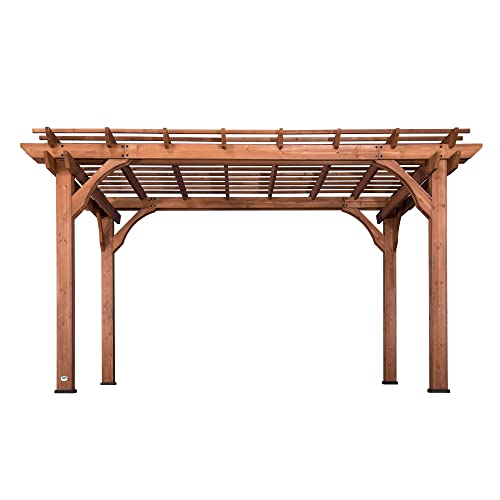 Backyard Discovery 1802513 Wooden Sturdy Pergola, 10 x 14 , Cedar Stained