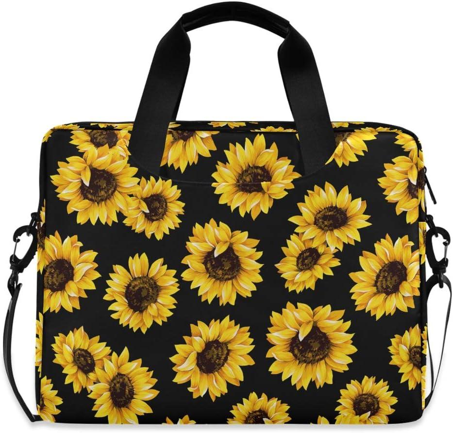 ALAZA Sunflower Print Flower Floral Laptop Case Bag Sleeve Portable Crossbody Messenger Briefcase w/Strap, 13 14 15.6 inch