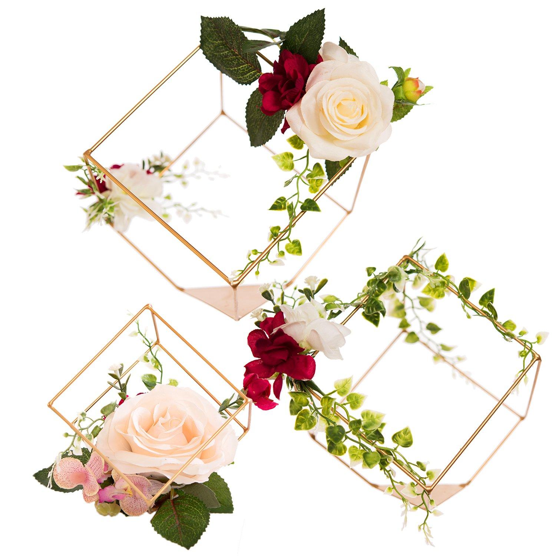 Amazon.com: Ling\'s moment Set of 3 Gold Geometric Ivory Rose ...