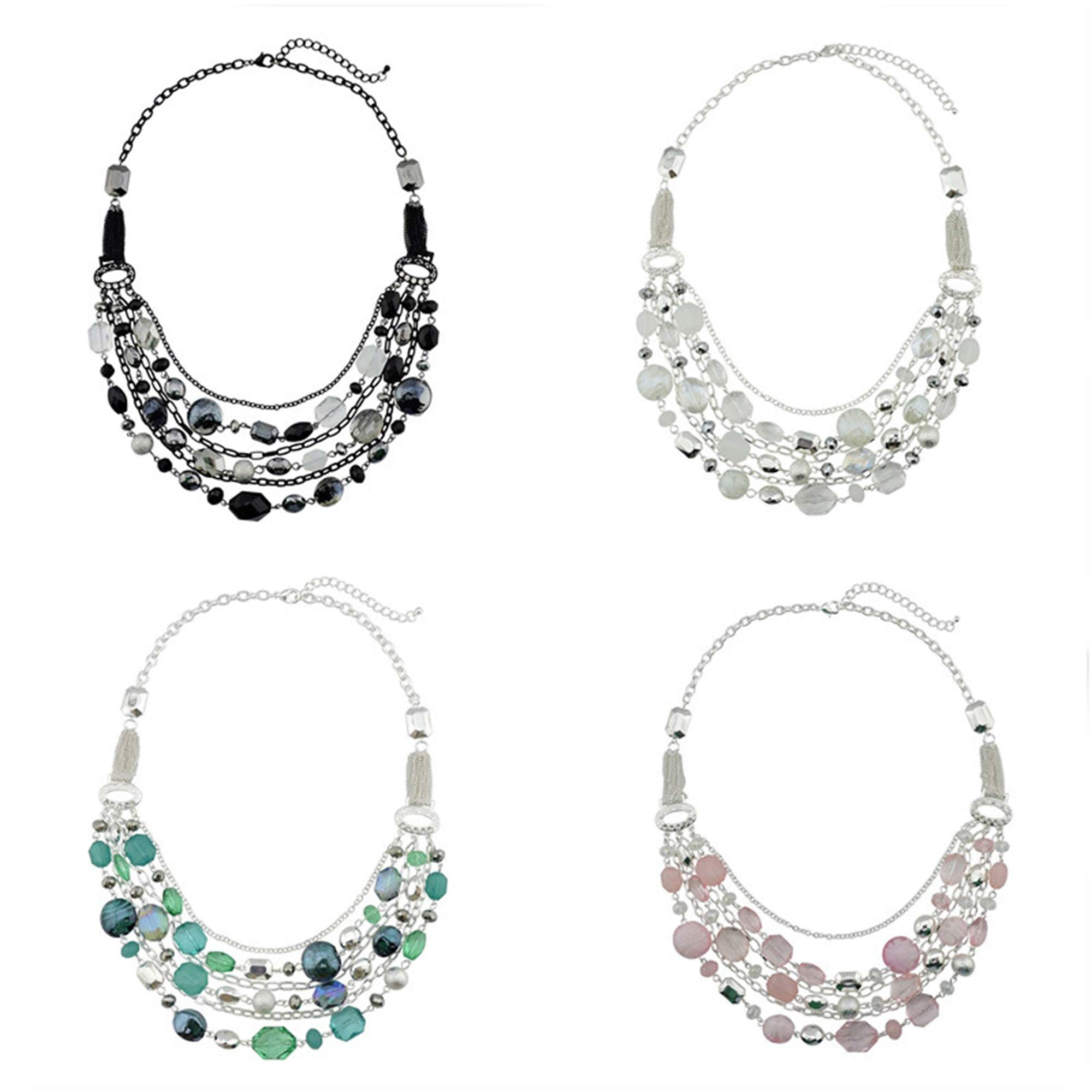 Bocar 4 PCS Newest Multi Layer Chain Crystal Colored Glaze Statement Women Strand Necklace (NK-10061-1 Set)