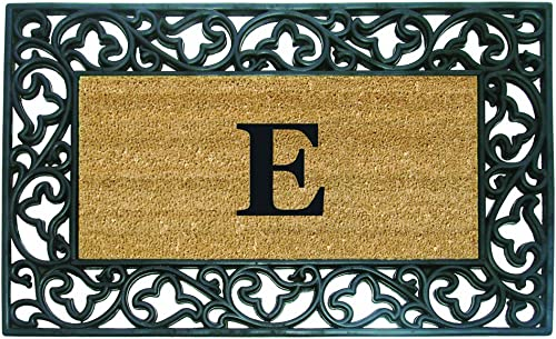 Nedia Home Acanthus Border with Rubber Coir Doormat, 22 by 36-Inch, Monogrammed E