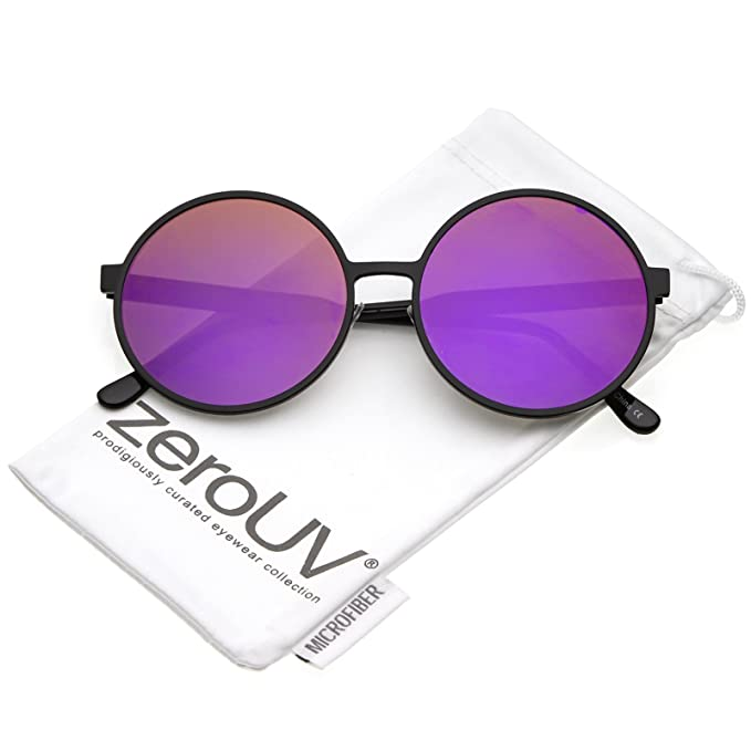 91f17a5f82 zeroUV - Oversize Metal Frame Color Mirrored Flat Lens Round Sunglasses  58mm (Black Purple