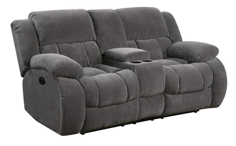 Coaster Home Furnishings Weissman Motion Loveseat with Cupholders and Storage Charcoal by Coaster Home Furnishings