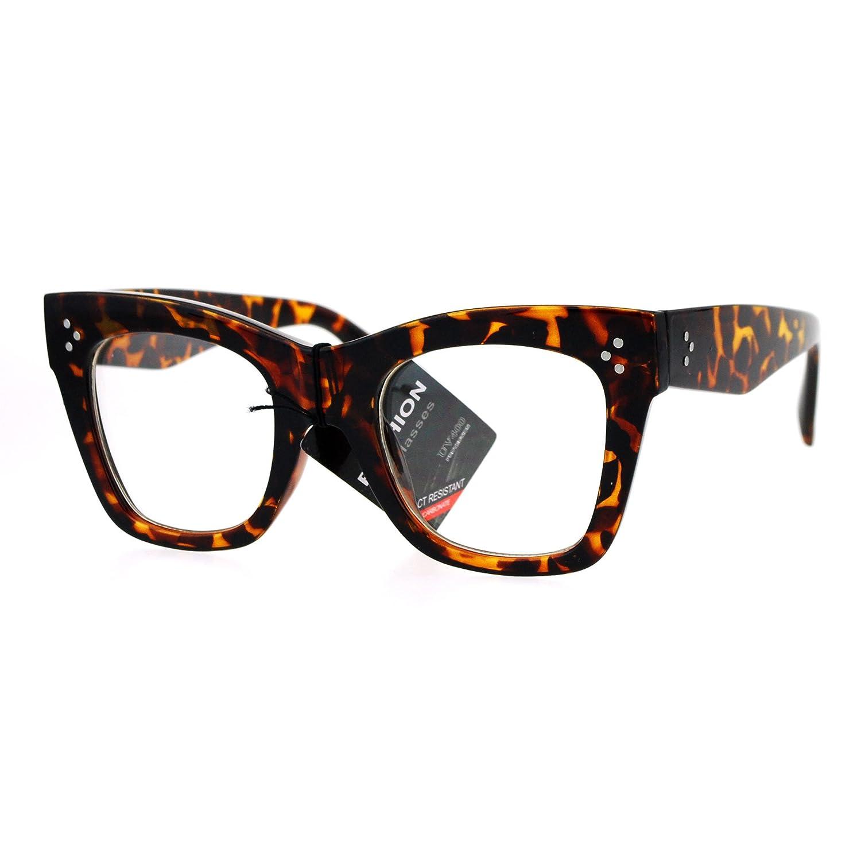 Eyeglasses cost - Womens Clear Lens Glasses Thick Square Cat Eye Frame Eyeglasses Uv 400 Low Cost