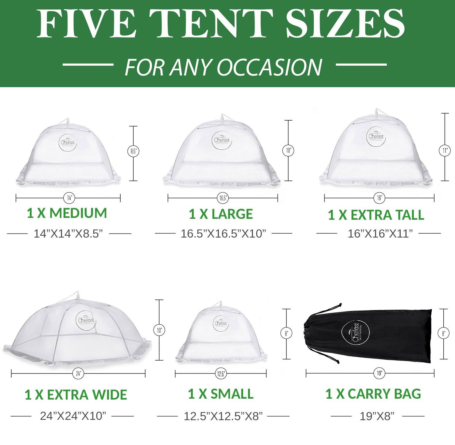 Amazon.com | Chefast Food Cover Tents (5 Pack) - Combo Set of Pop Up Mesh Covers in 5 Sizes and a Reusable Carry Bag - Umbrella Screens to Protect Your Food ...  sc 1 st  Amazon.com & Amazon.com | Chefast Food Cover Tents (5 Pack) - Combo Set of Pop Up ...