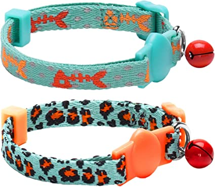 Adjustable Printed Pet Collar with Bell Pet Collar For Cat Dog Puppy CA