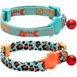 Blueberry Pet Pack of 2 Cat Collars, Hunting Expedition with Fish Bone and Leopard Print Adjustable Breakaway Cat Collar with