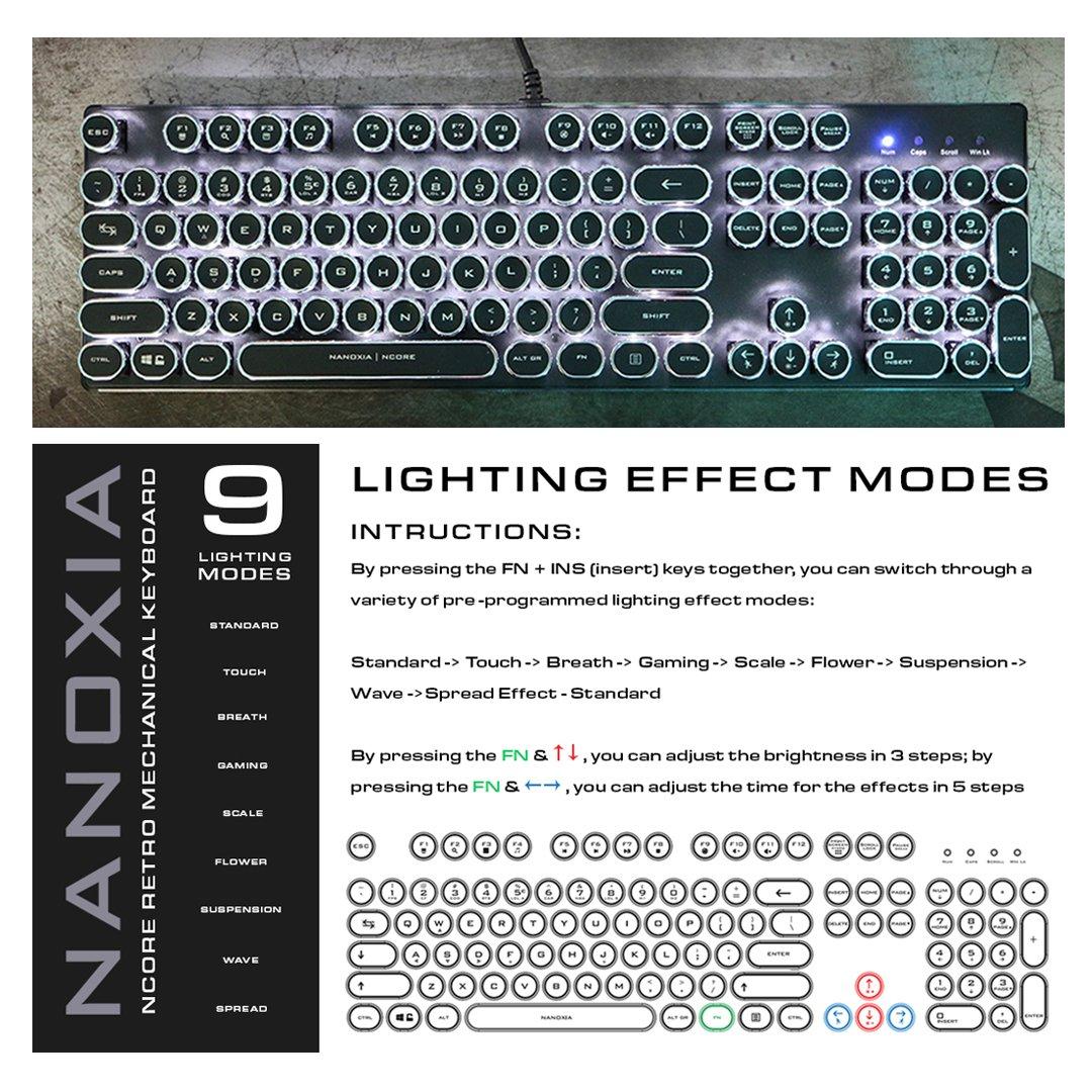 Nanoxia Ncore Retro USB QWERTY Inglés Negro, Plata - Teclado (Alámbrico, USB, Interruptor mecánico, QWERTY, LED, Negro, Plata): Amazon.es: Informática