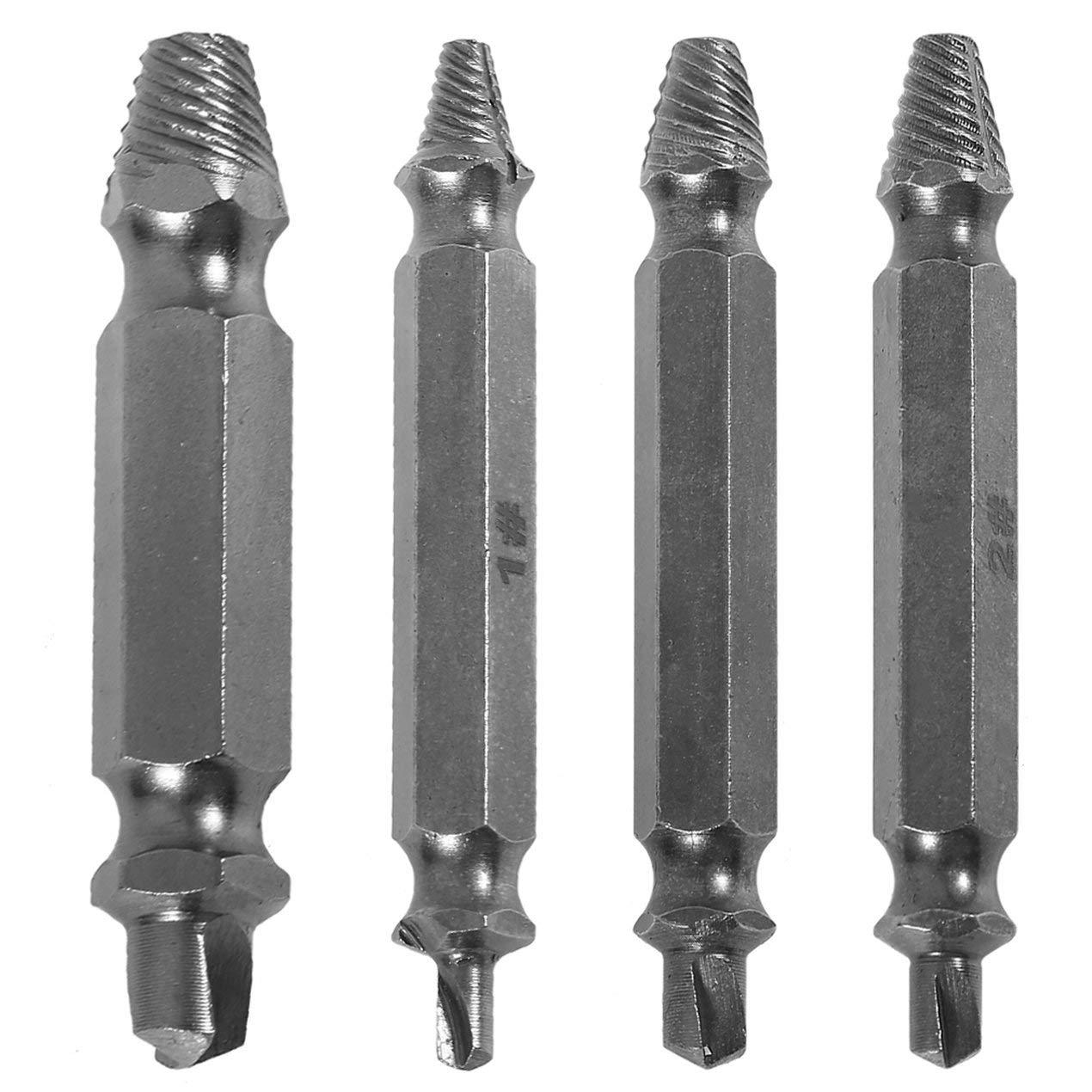JullyCAnnice Professional 4pcs//set Steel Broken Screws Extractor Broken Bolt Remover Easy Out Set Drill Bits Guide Set
